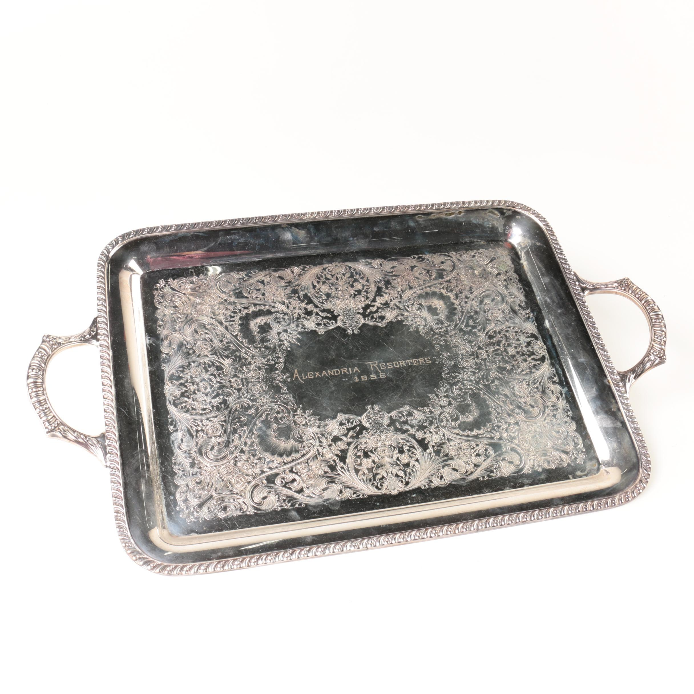 Vintage Silver Plate Inscribed Serving Tray