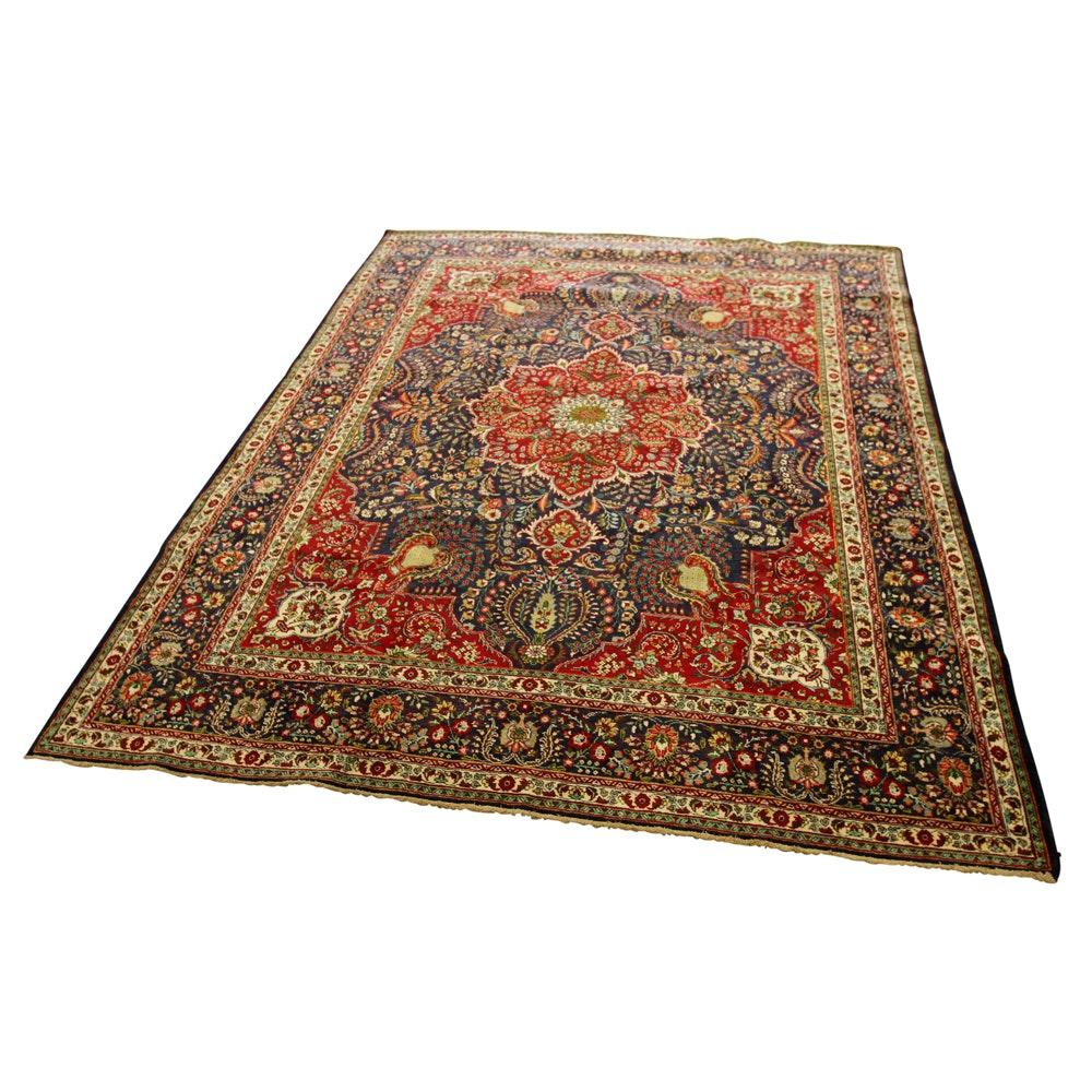 Hand Knotted Vintage Persian Qum Area Rug