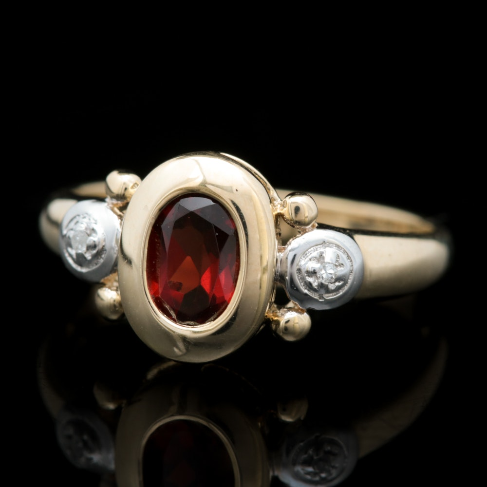 10K Yellow Gold, Garnet and Diamond Ring