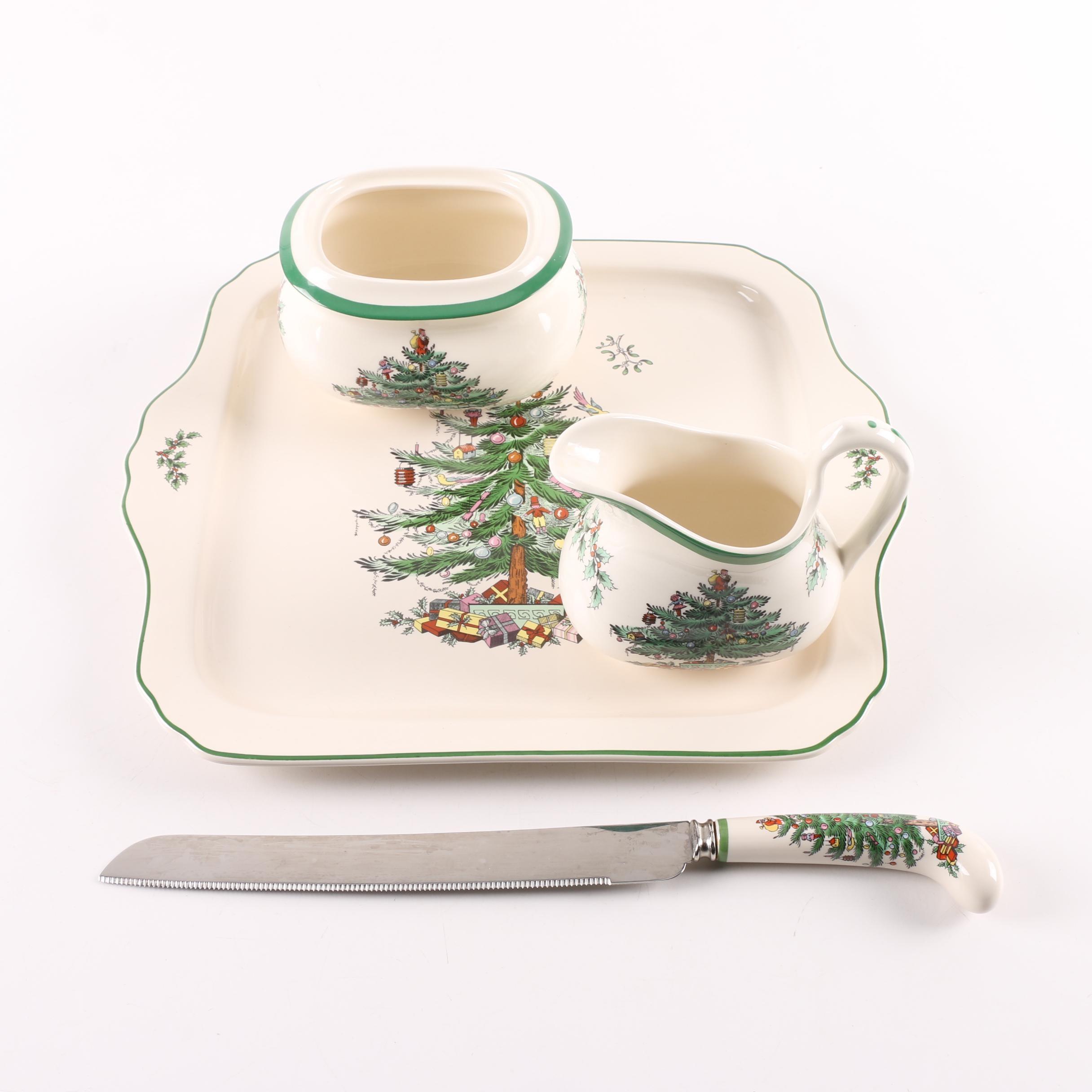 "Spode ""Christmas Tree"" Ceramic Platter, Bread knife, Creamer and Sugar"