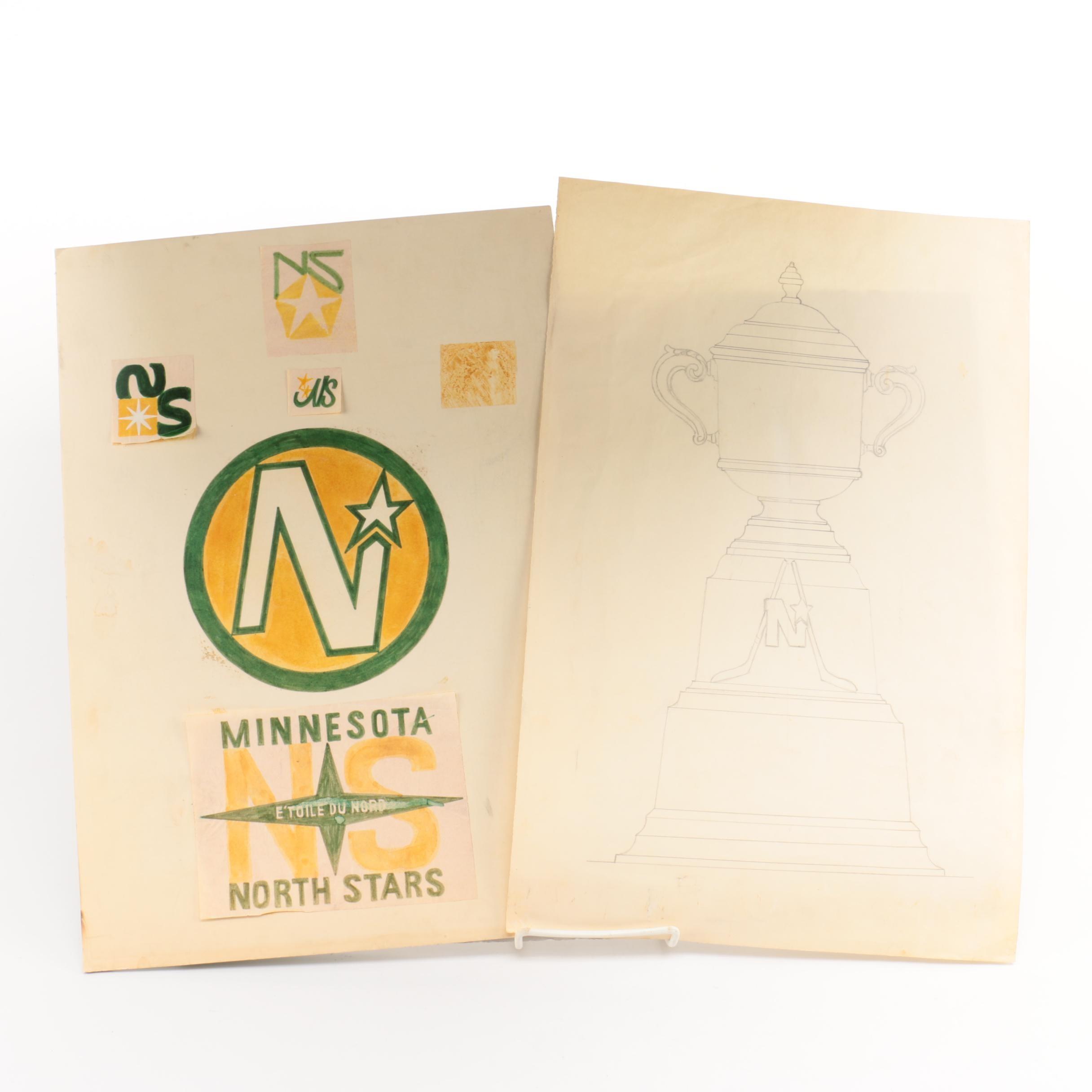 Mock-up Illustration for Minnesota North Stars Logo and Trophy Sketch