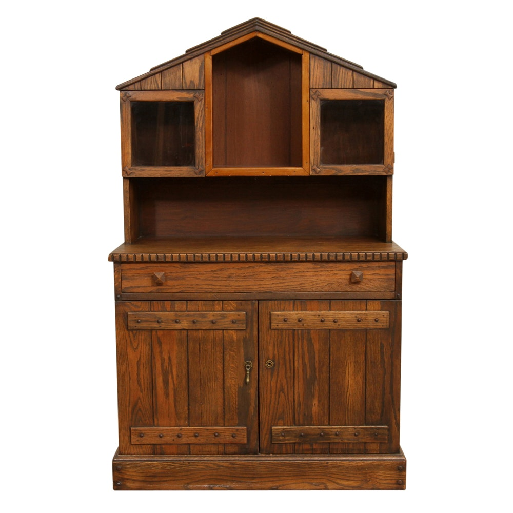 Child's Handcrafted Oak Display Hutch Cabinet