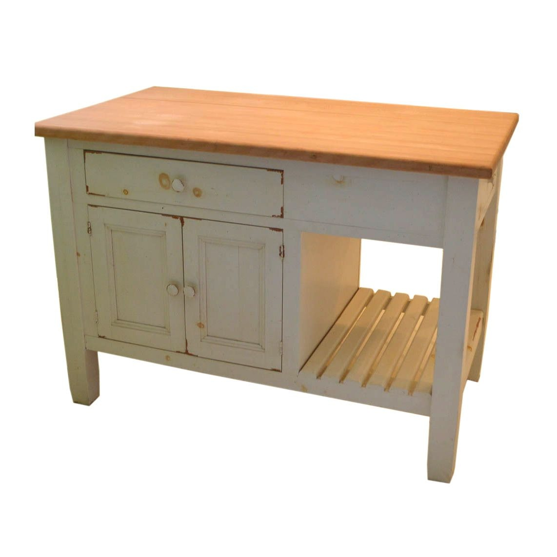 Farmhouse Style Wood and Butcher Block Kitchen Island