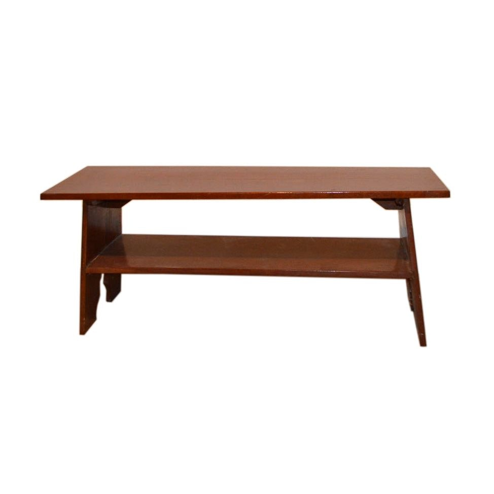 Vintage Wood Bench with Shelf