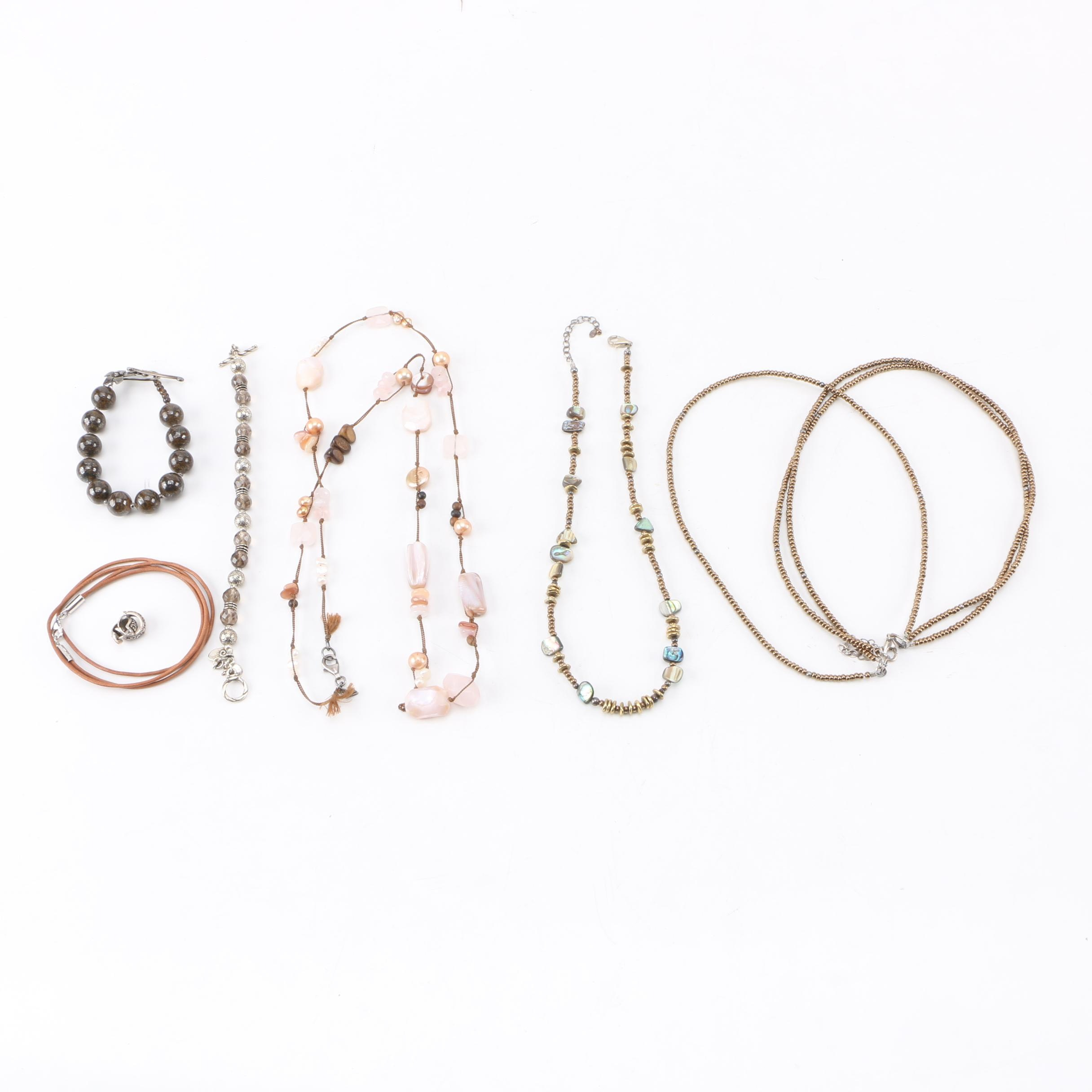 Silpada Sterling Silver Jewelry Including Abalone and Rose Quartz