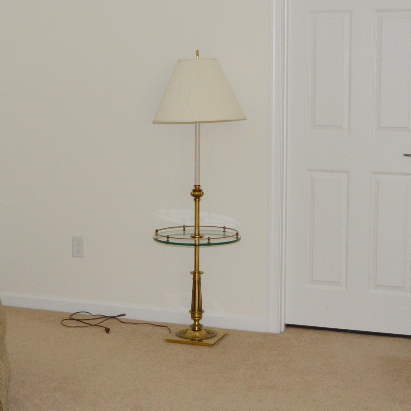 Solid Brass and Glass Lamp Table