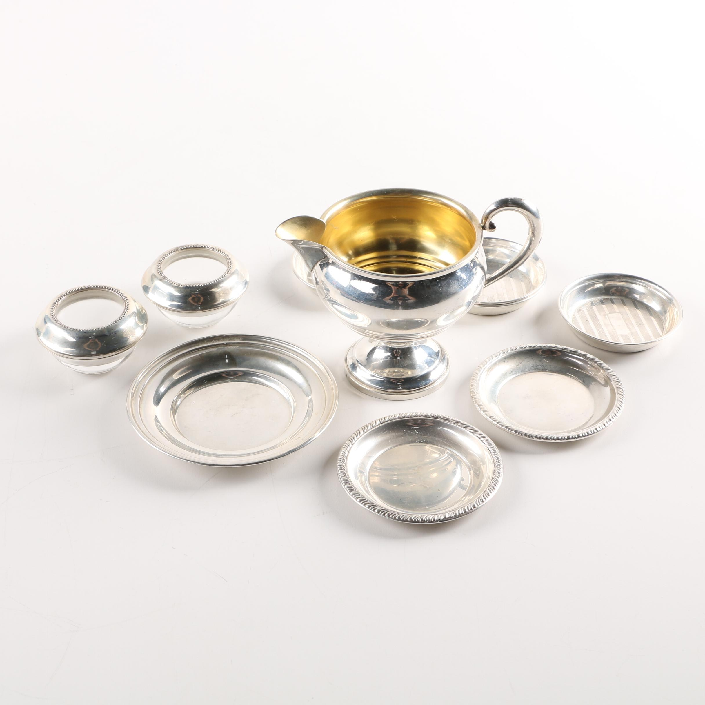 Sterling Silver Salts, Creamer and Individual Dishes