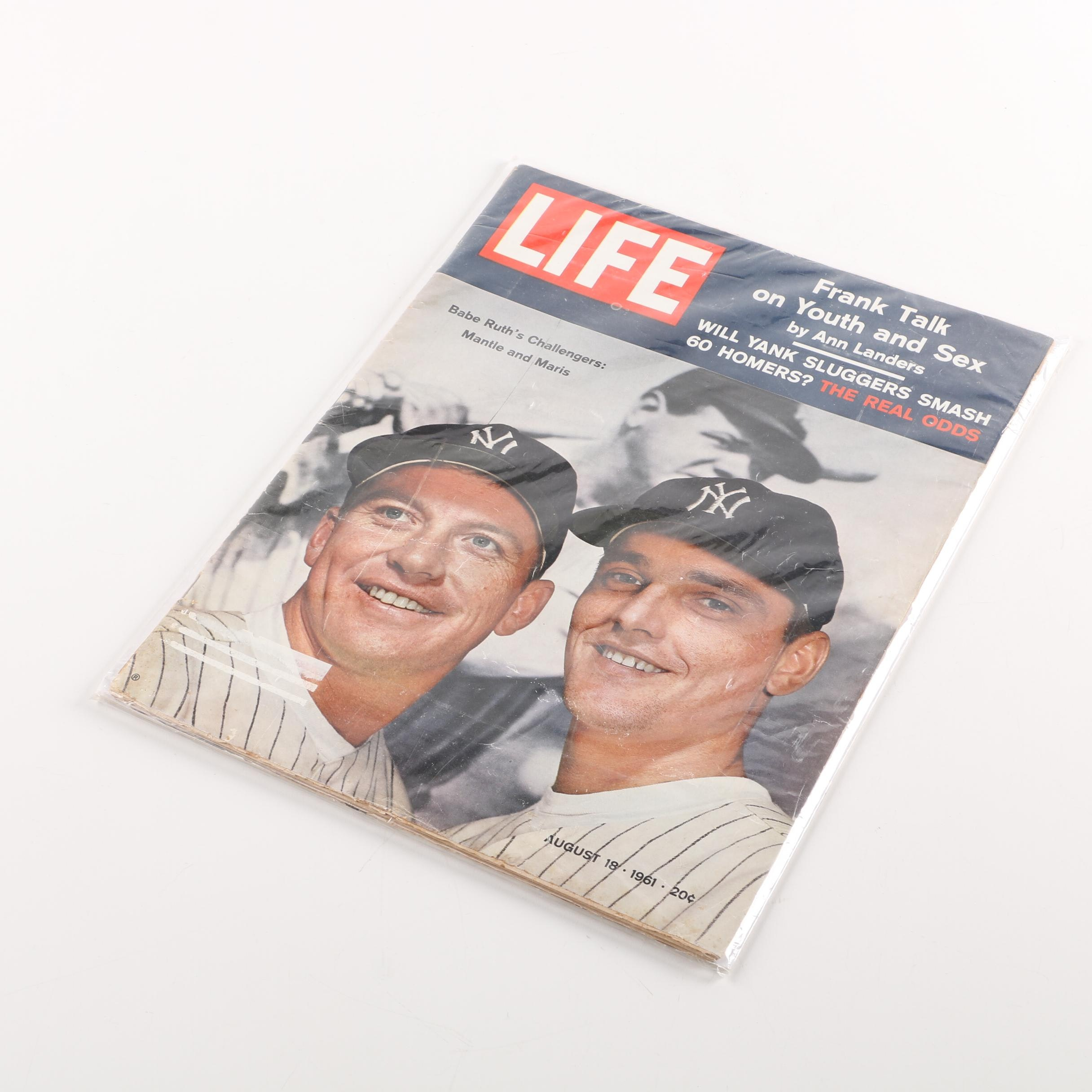 """""""Life"""" Magazine August 18, 1961 with Mickey Mantle and Roger Maris Cover"""