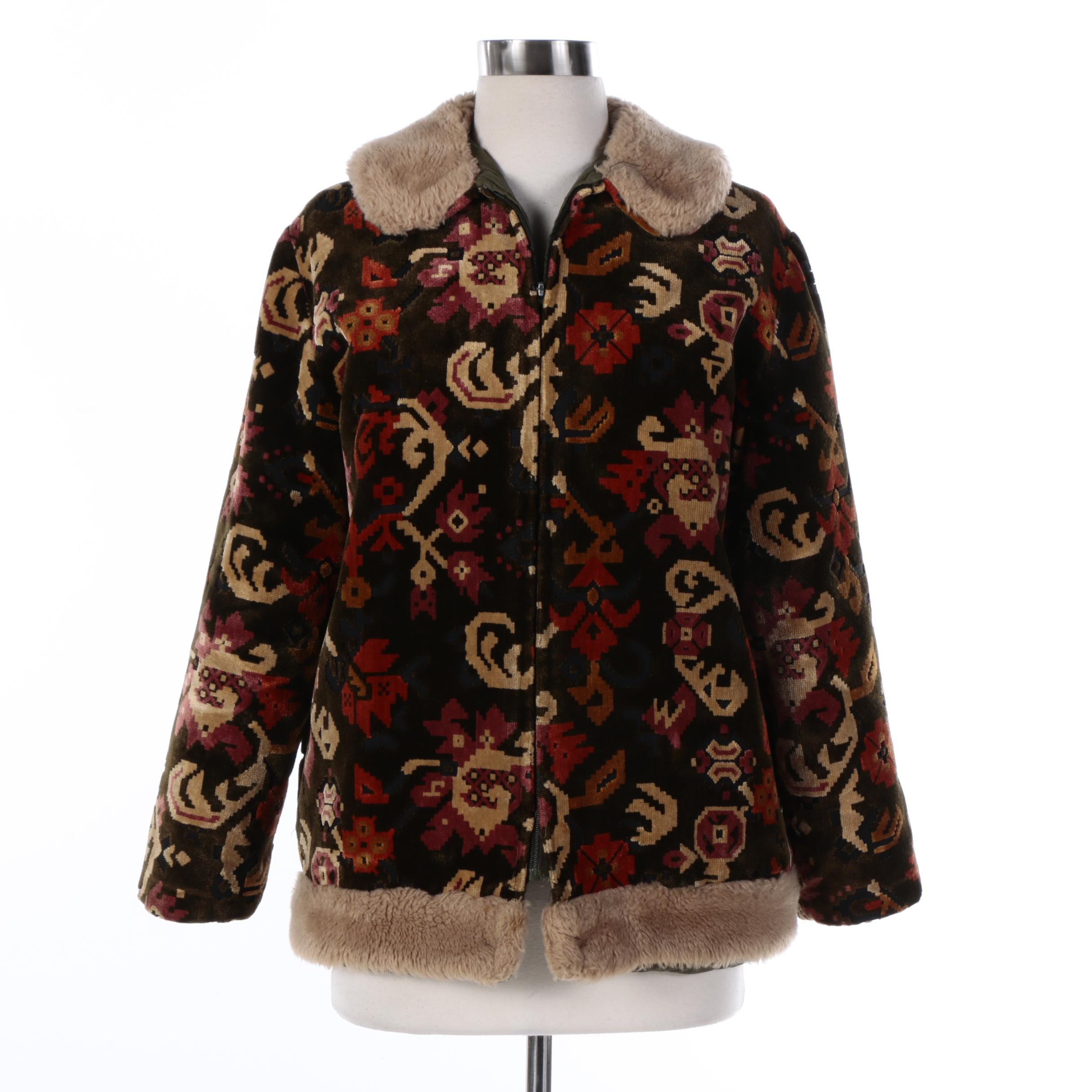 Vintage Valor Tapestry Print Zip Jacket with Faux Fur Trim