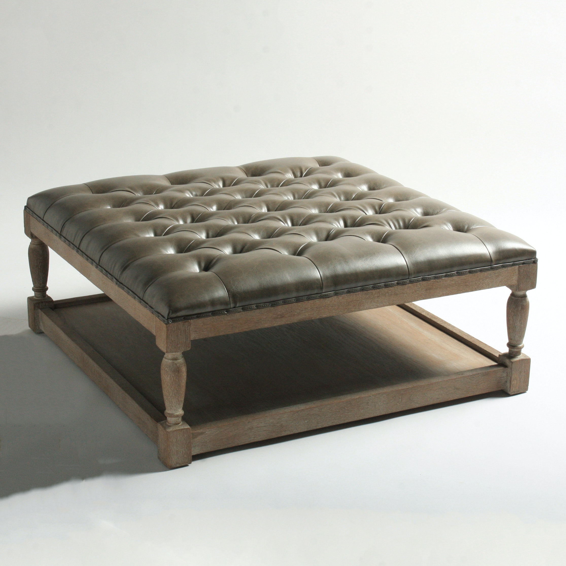 """Blink Home """"Voltaire"""" Faux Leather Tufted Ottoman"""