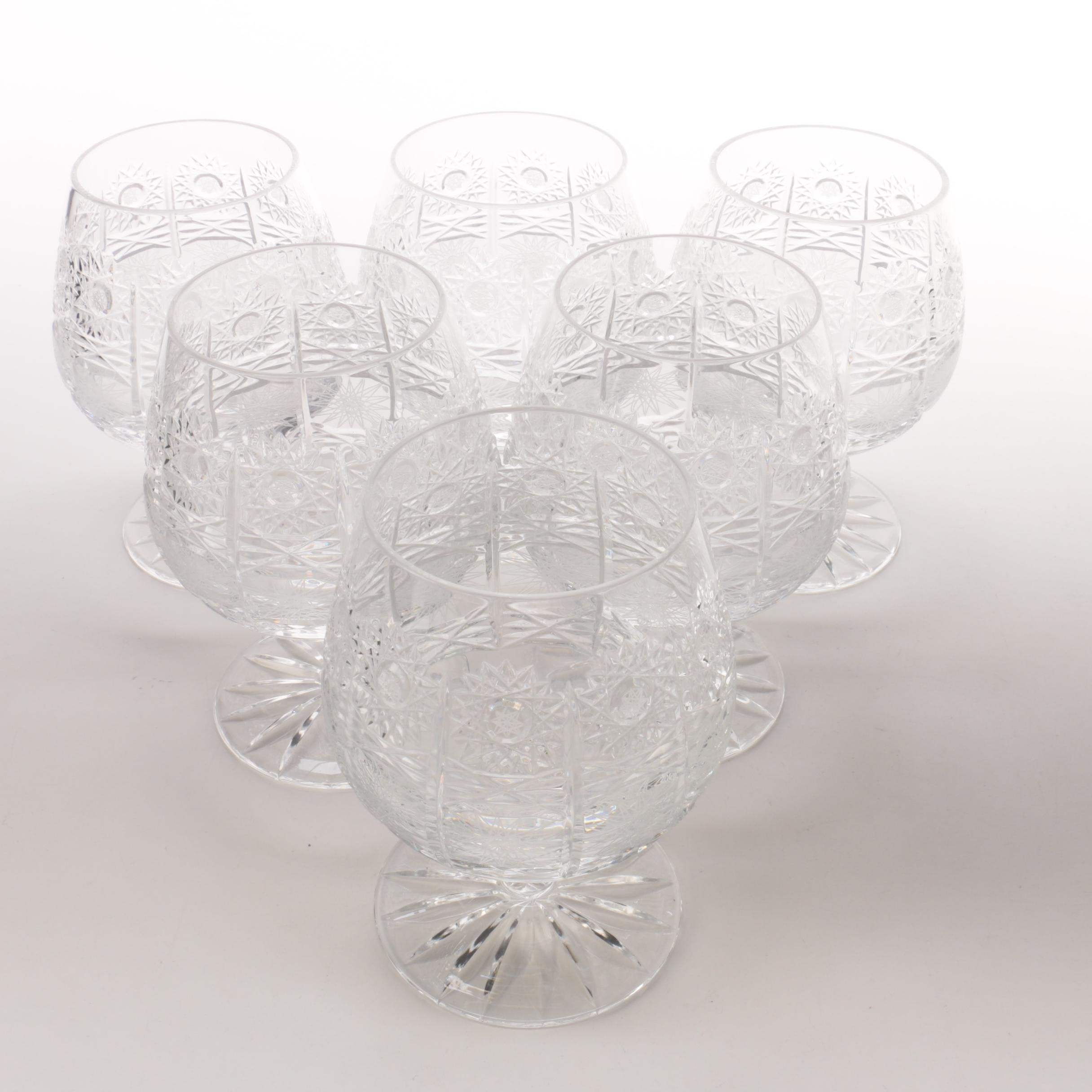Set of Six Crystal Brandy Snifters