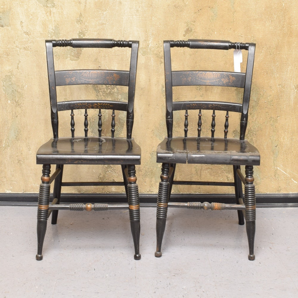 Vintage Hitchcock Style Side Chairs by Nichols & Stone