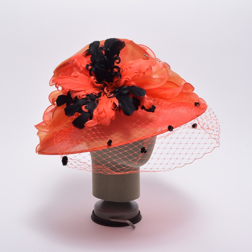 234c645f0a4 Something Special Orange Derby Hat with Flocked Netting