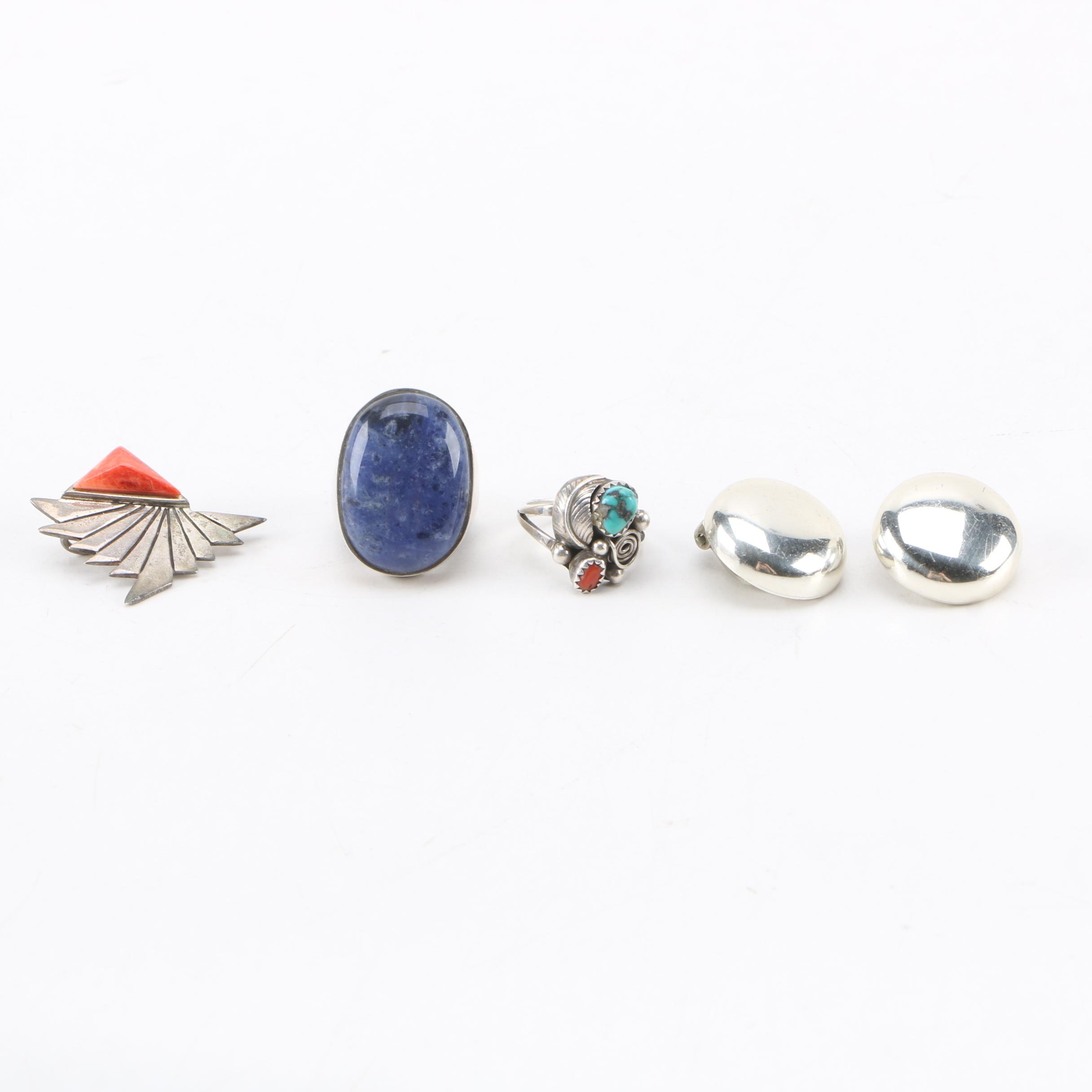 Sterling Silver Jewelry Assortment Including Sodalite, Turquoise and Coral
