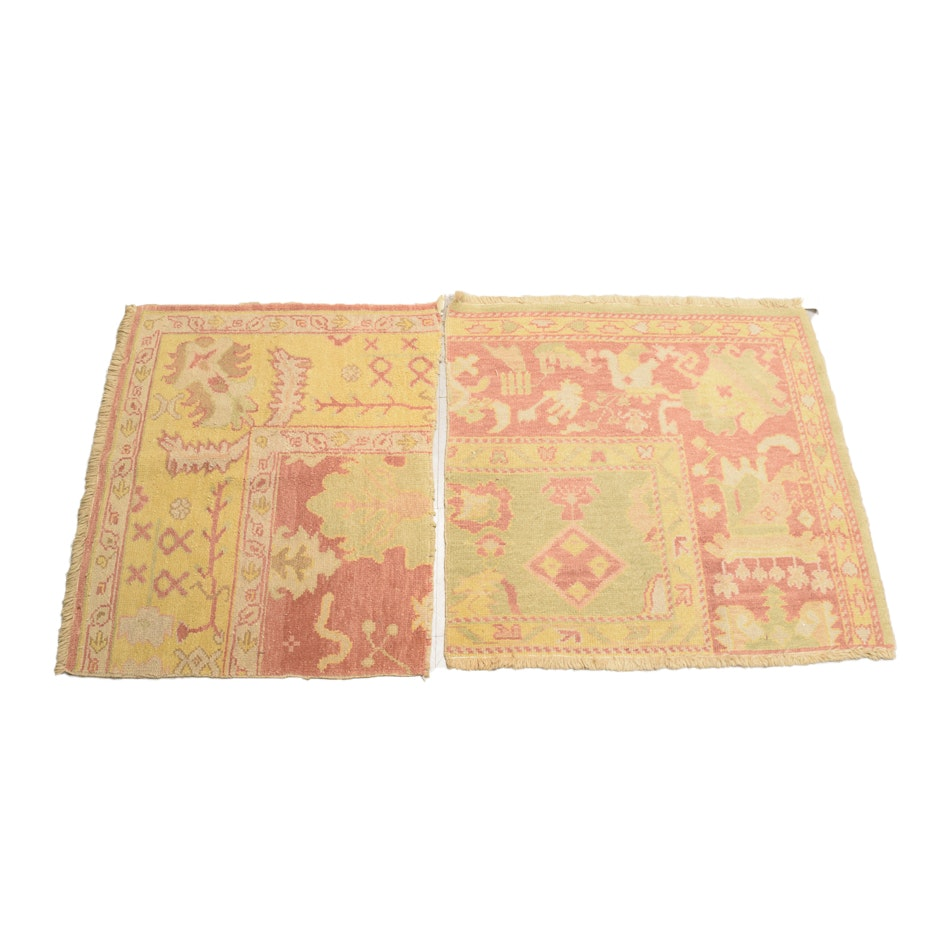 Hand-Knotted Oushak Wool Rug Fragments
