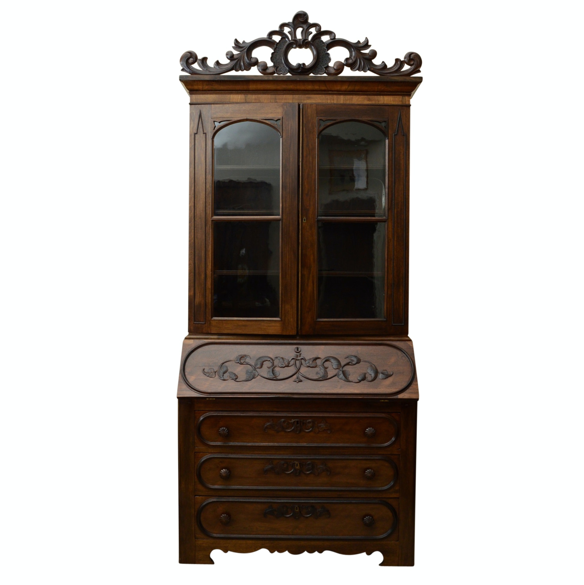Antique Victorian Secretary Bookcase, in Walnut and Rosewood