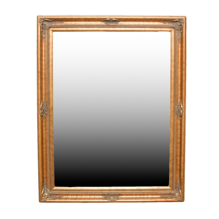 Gold Painted Wood Framed Wall Mirror