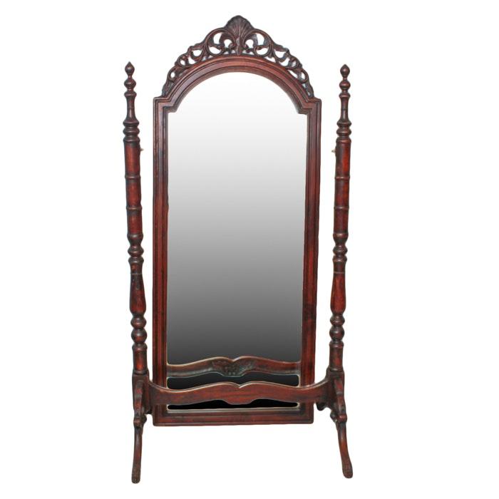 Victorian Walnut Stand-Up Mirror