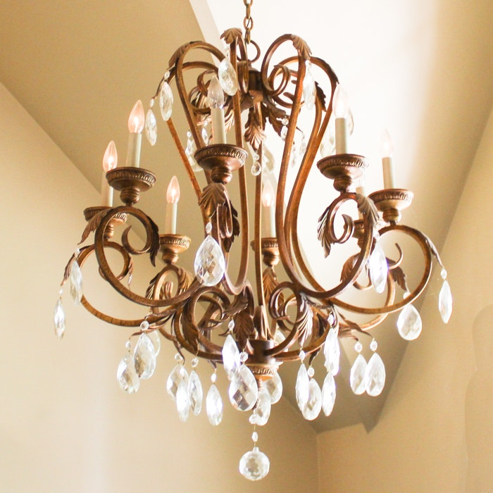 Traditional Style Gold Painted Chandelier