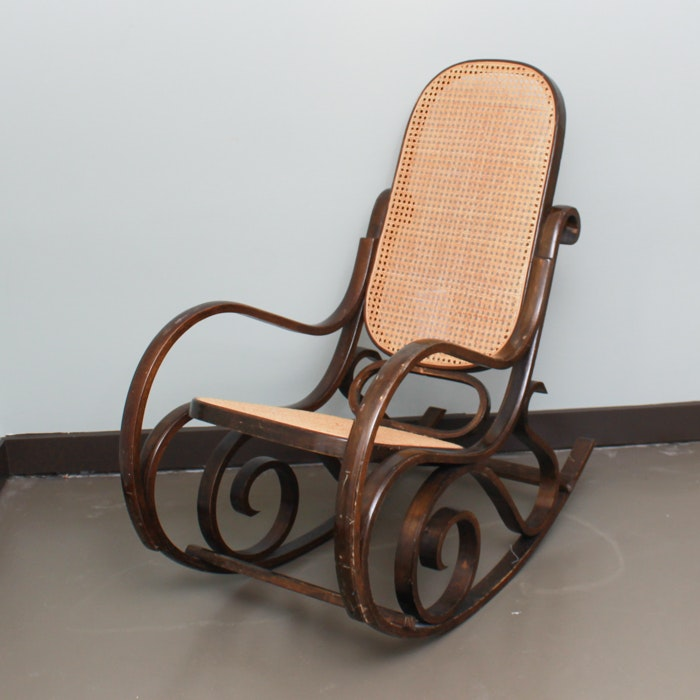 Vintage Bentwood and Cane Rocking Chair