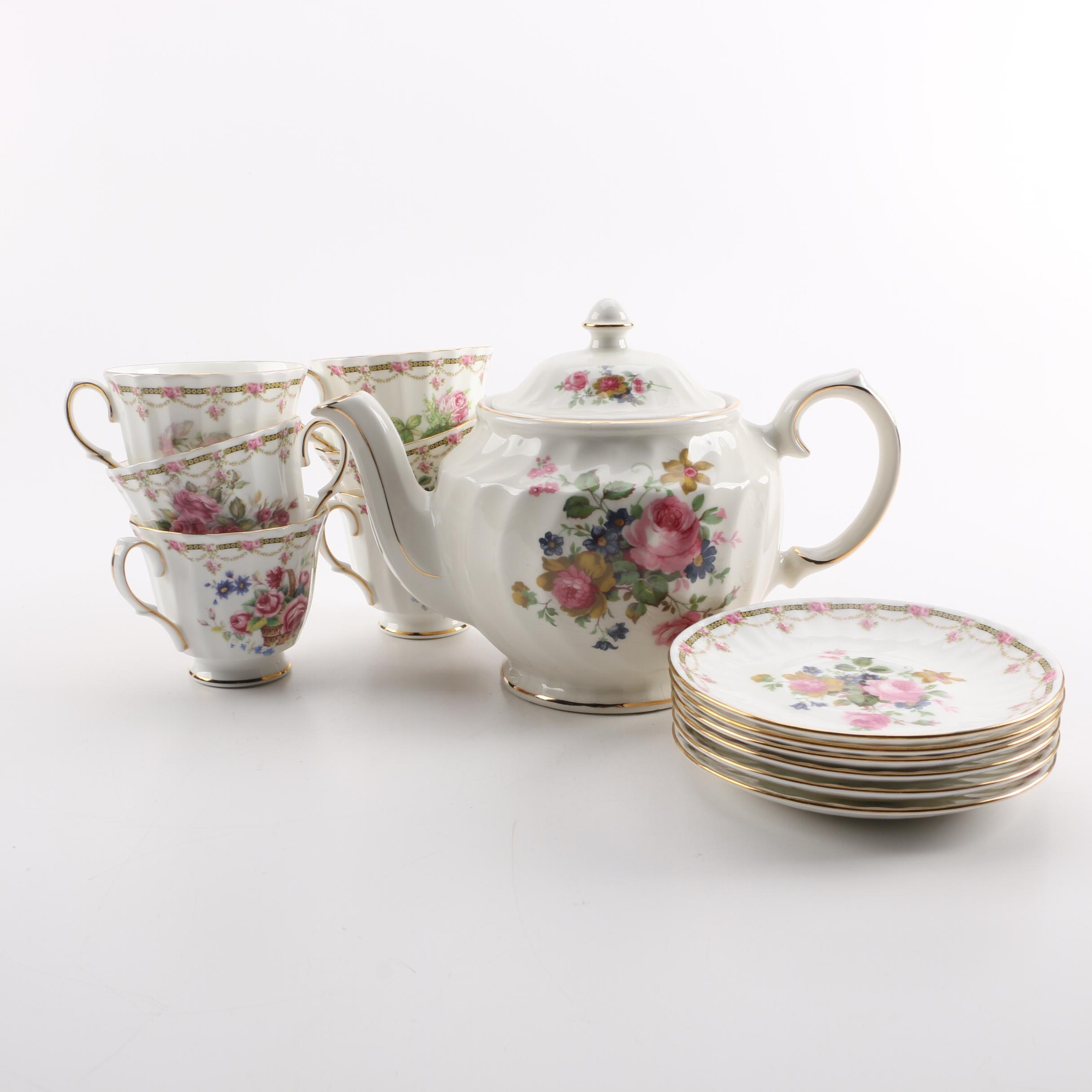 "Duchess ""London Collection"" Dessert Set and San Francisco Music Box Teapot"