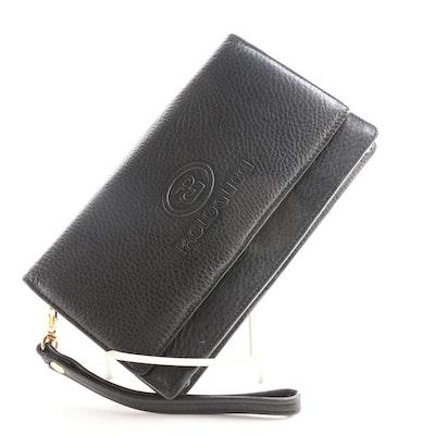 Paolo Gucci Black Leather Wristlet