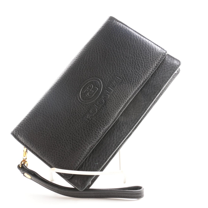 Paolo Gucci Black Leather Wristlet