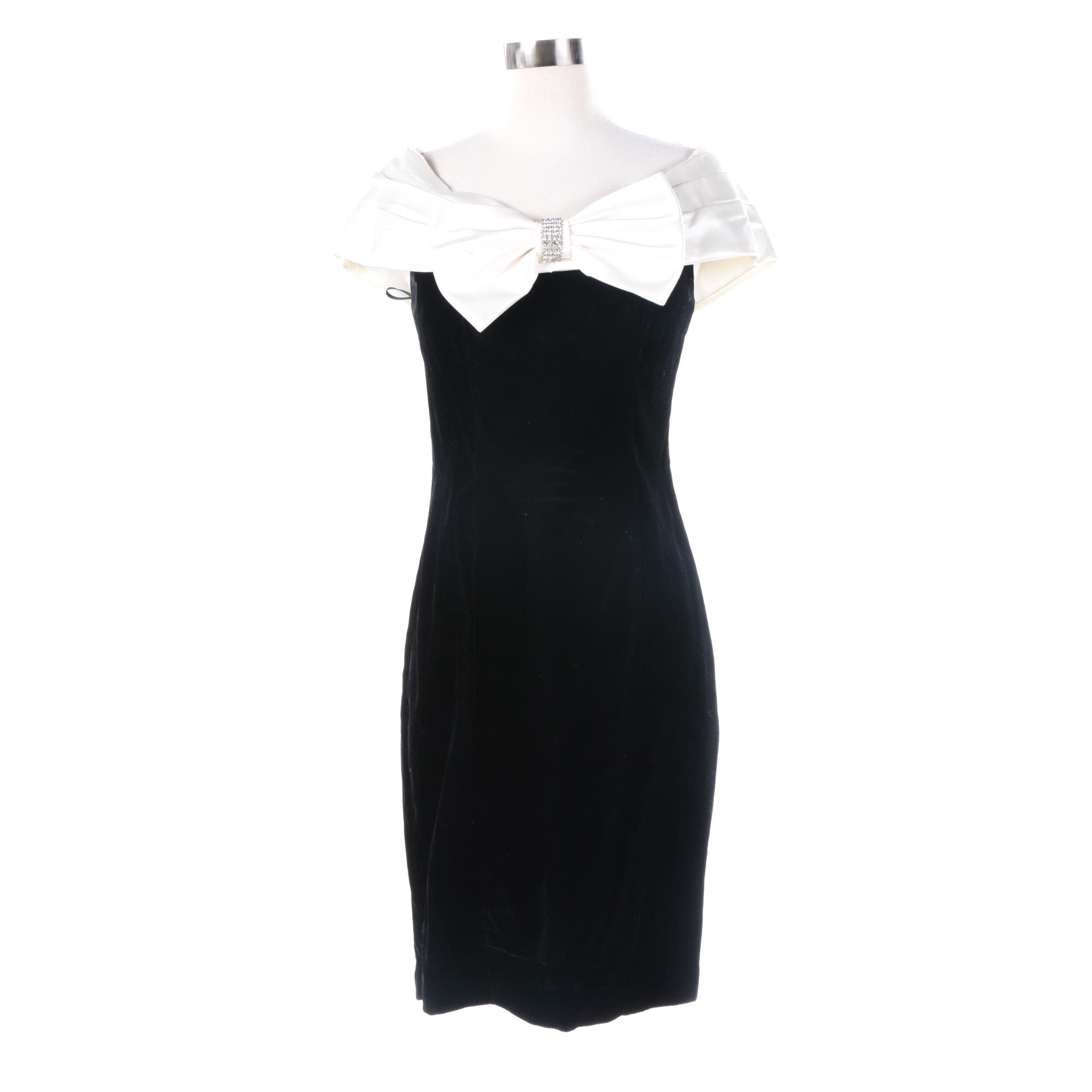 Jessica Howard Black Velvet Dress Featuring White Bow Front Neckline