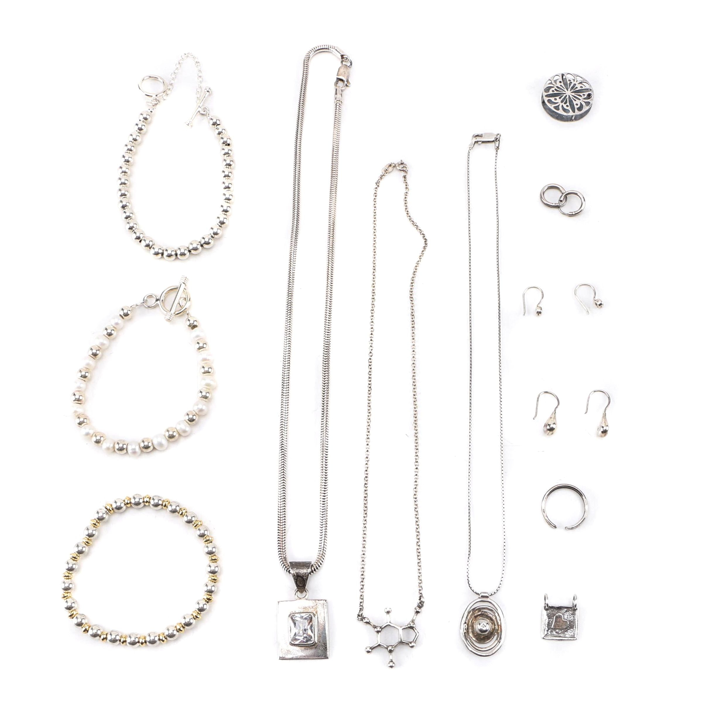 Assortment of Silpada Sterling Silver Jewelry Including Cultured Pearls