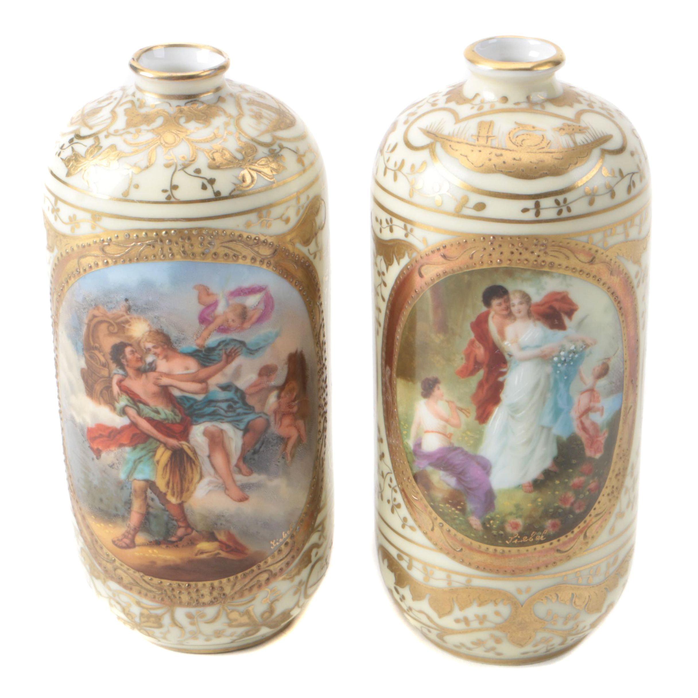 Vintage Austrian Hand-Painted Gilt Porcelain Bud Vases