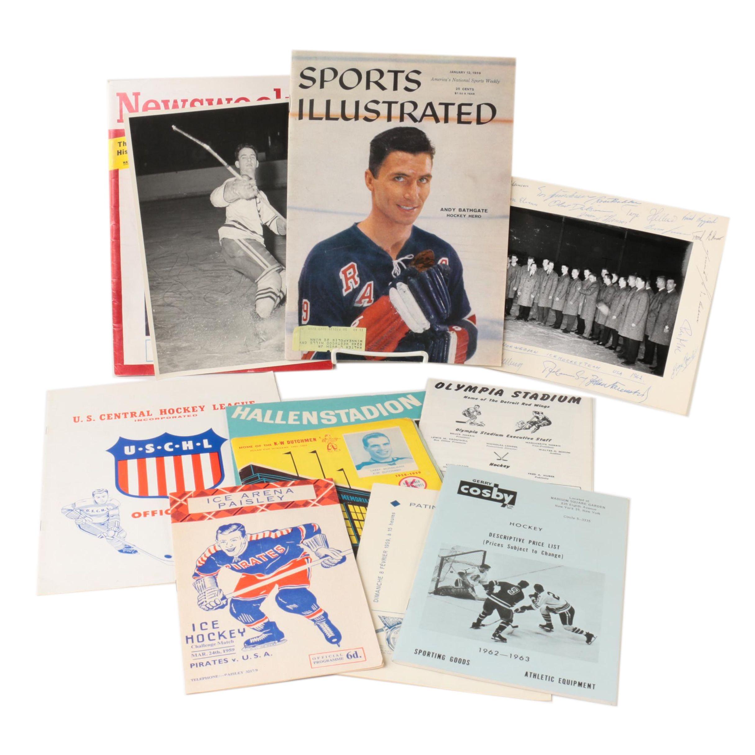Signed Photo of the 1962 Men's Norwegian Ice Hockey Team and Ephemera