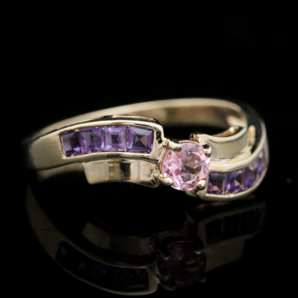 10K Yellow Gold, Pink Tourmaline and Amethyst Ring