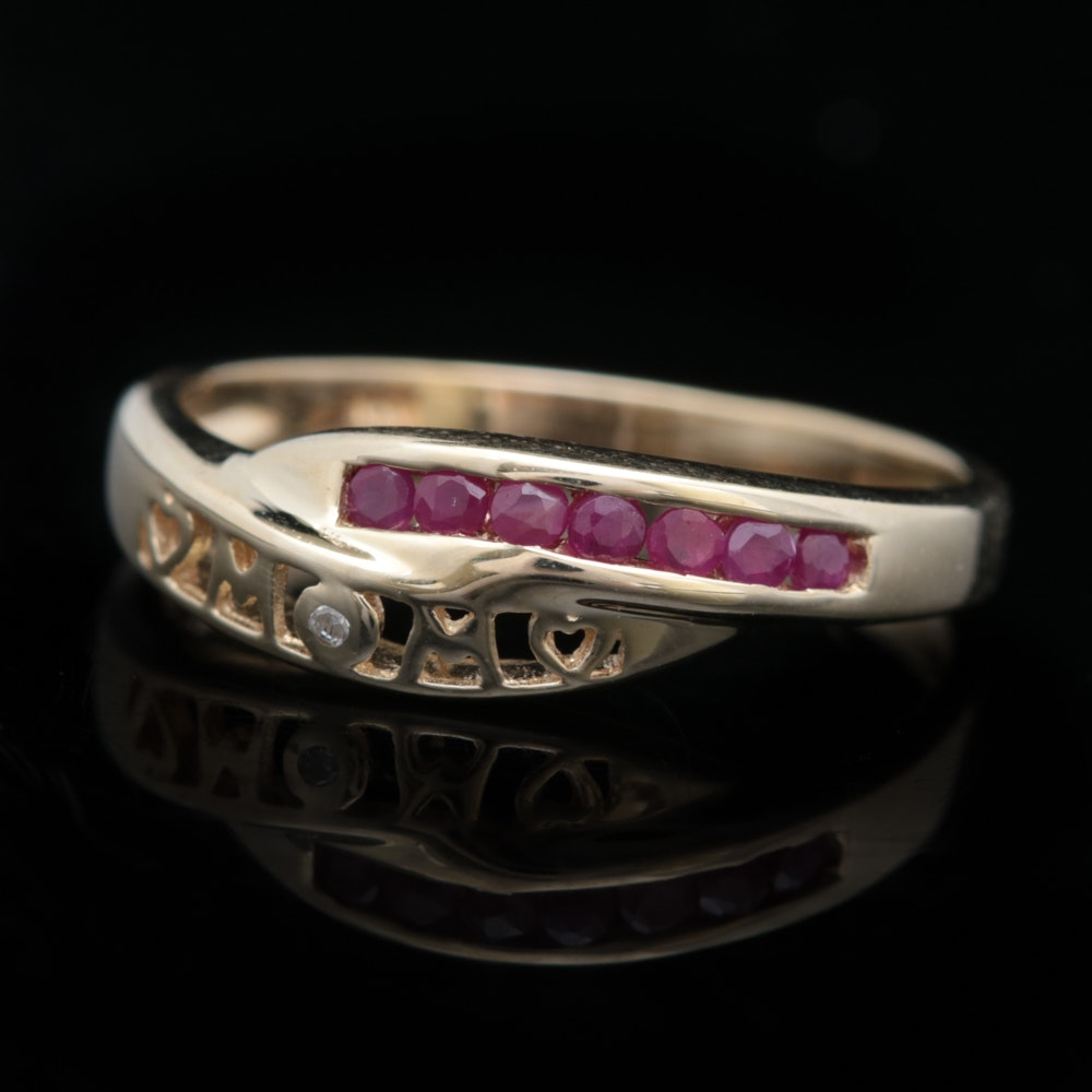 "10K Yellow Gold, Ruby and Diamond ""MOM"" Ring"