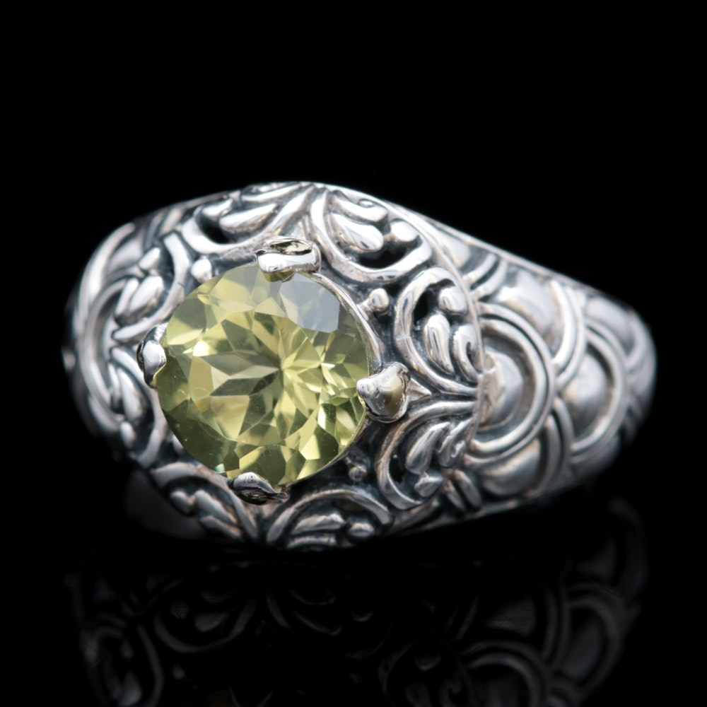 Robert Manse Sterling Silver, 18K Yellow Gold and Lemon Quartz Ring