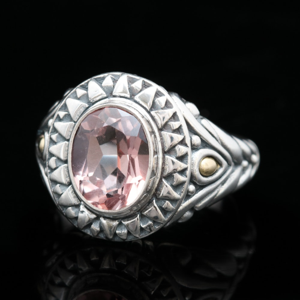 Robert Manse Sterling Silver, 18K Yellow Gold and Rose Quartz Ring