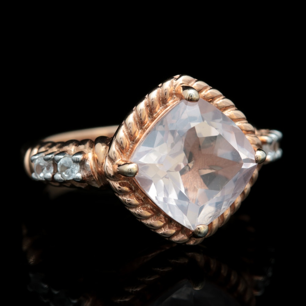 Rose Gold Wash on Sterling Silver, Rose Quartz and White Topaz Ring