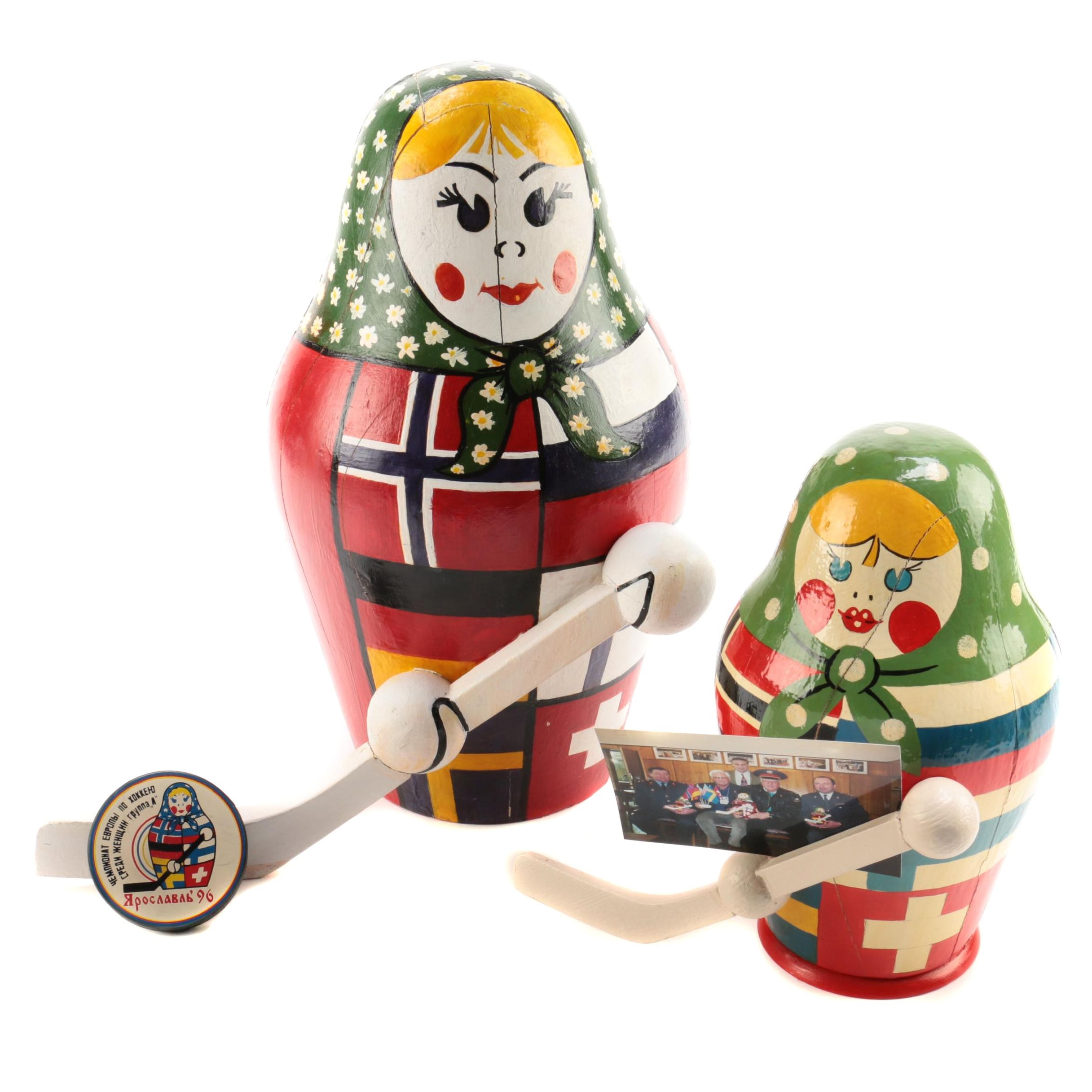 1996 Women's World Hockey Championship Russian Dolls and Commemorative Puck
