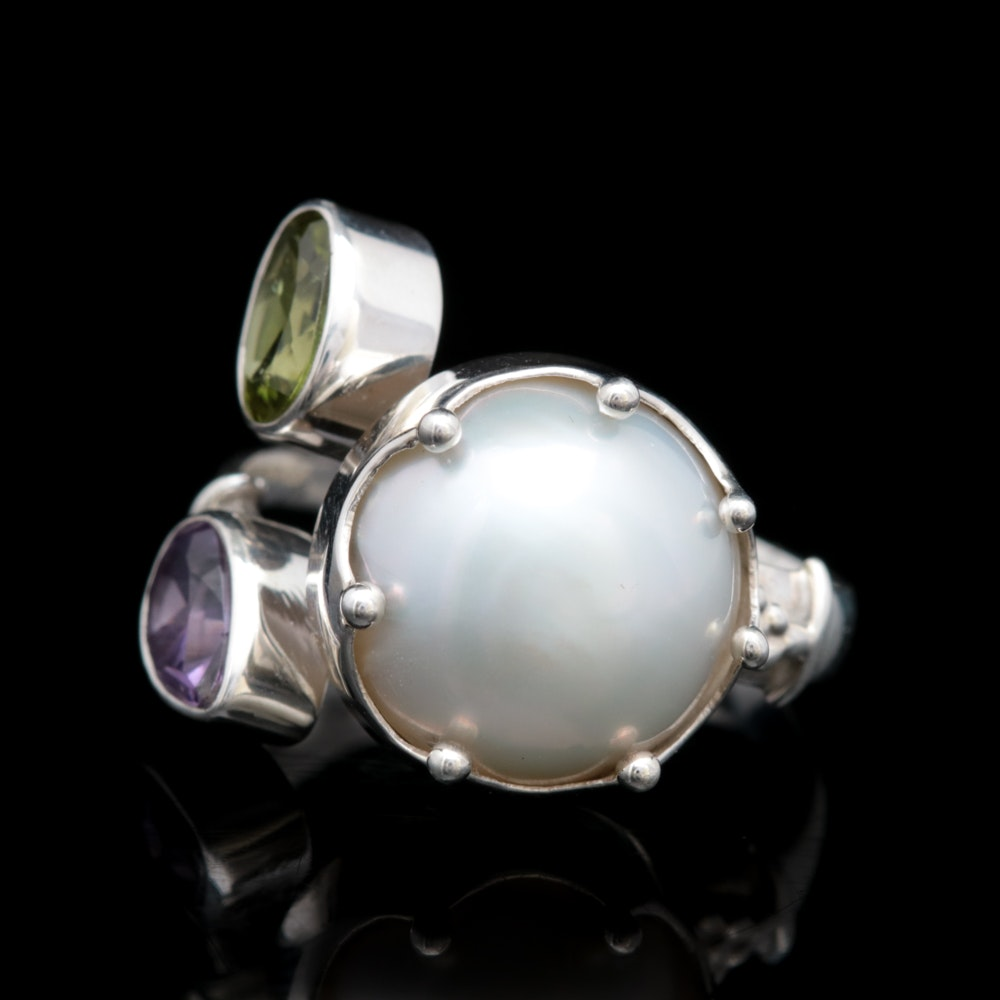Sterling Silver, Pearl, Peridot and Amethyst Ring