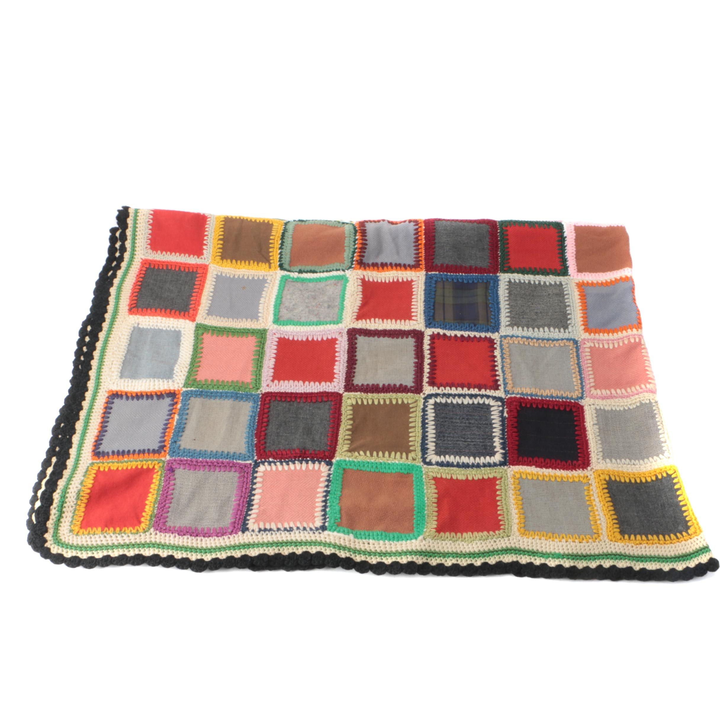 Vintage Crochet-Joined Patchwork Blanket