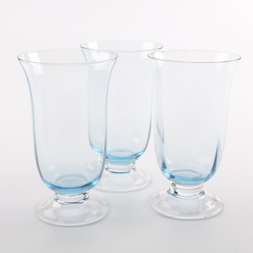 Light Blue Footed Glass Vases Ebth