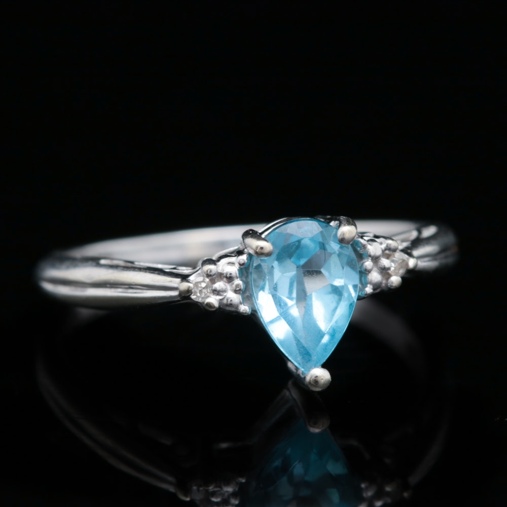 10K White Gold, Blue Topaz and Diamond Ring