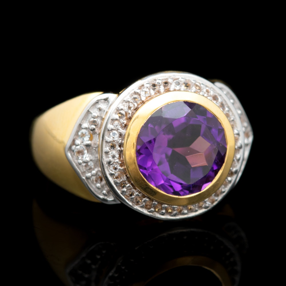 Gold Wash on Sterling Silver, Amethyst and White Topaz Ring