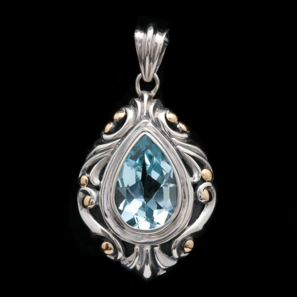 Sterling Silver, 18K Yellow Gold and Blue Topaz Pendant