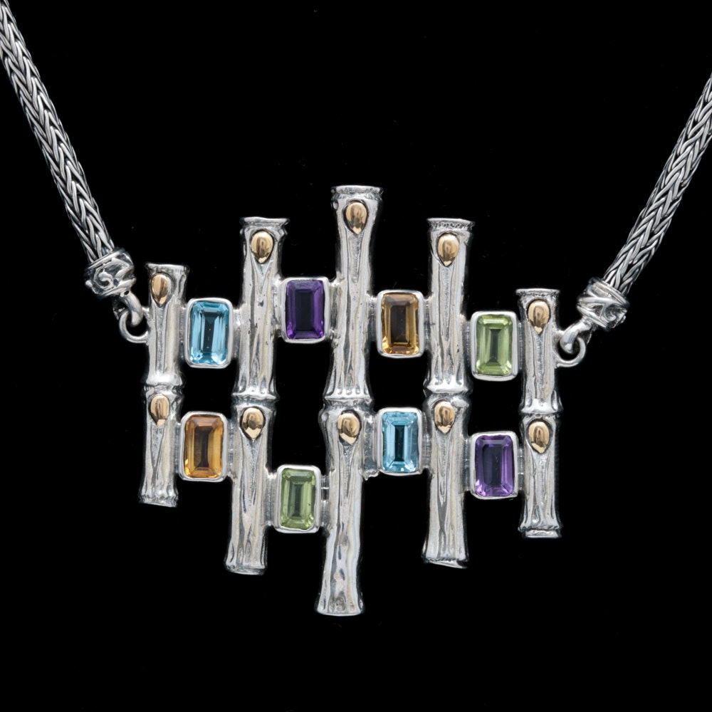 Sterling Silver, 18K Yellow Gold and Multi-Gemstone Necklace