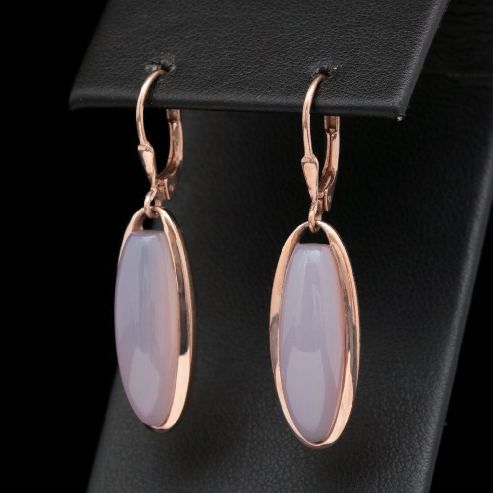 Rose Gold Wash on Sterling Silver and Lavender Jadeite Earrings