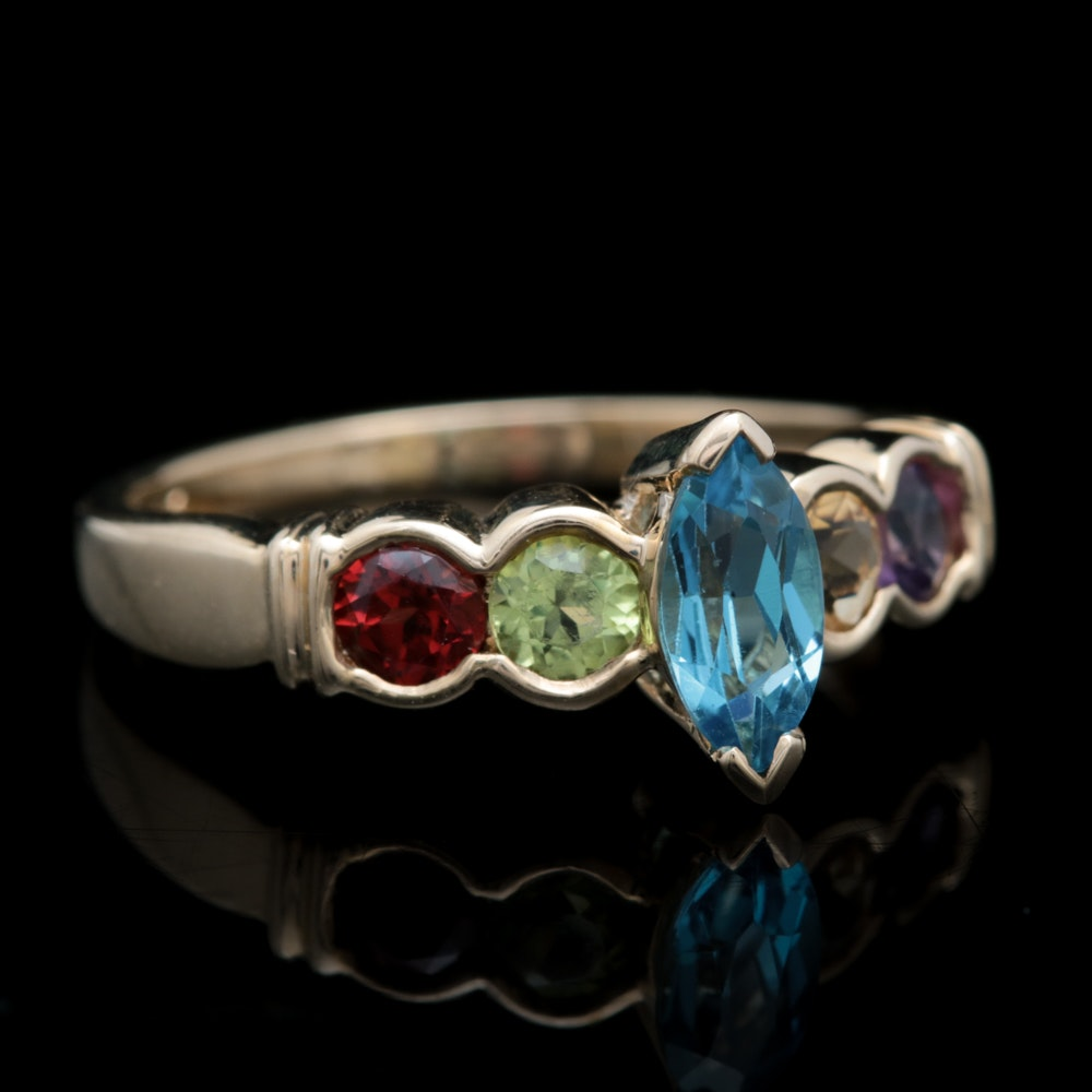 10K Yellow Gold and Multi-Gemstone Ring