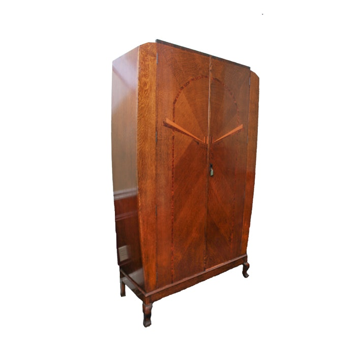 Vintage Art Deco Oak Armoire