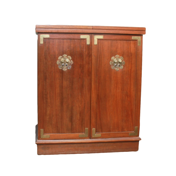 Vintage Chinese Inspired Wood Liquor Cabinet with Bar