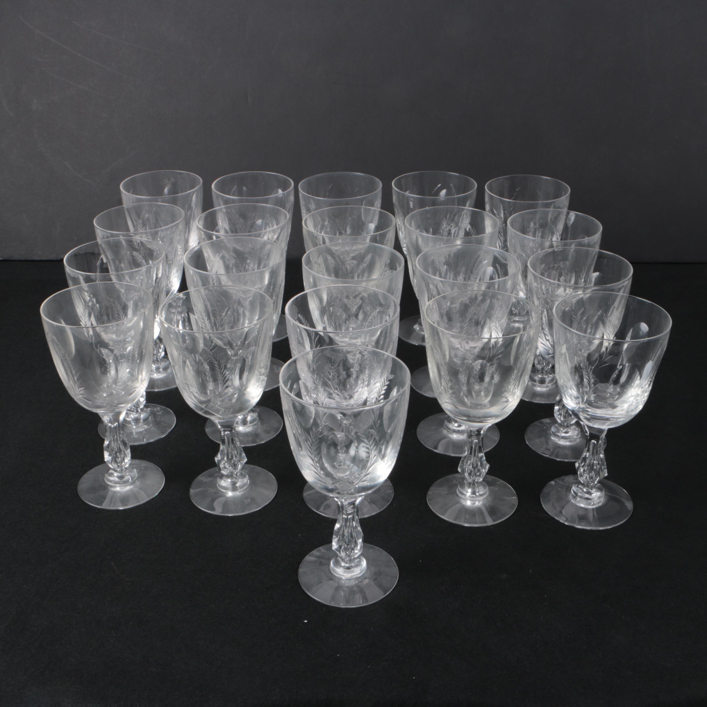 Vintage Laurel Wreath Etched Wine Glasses