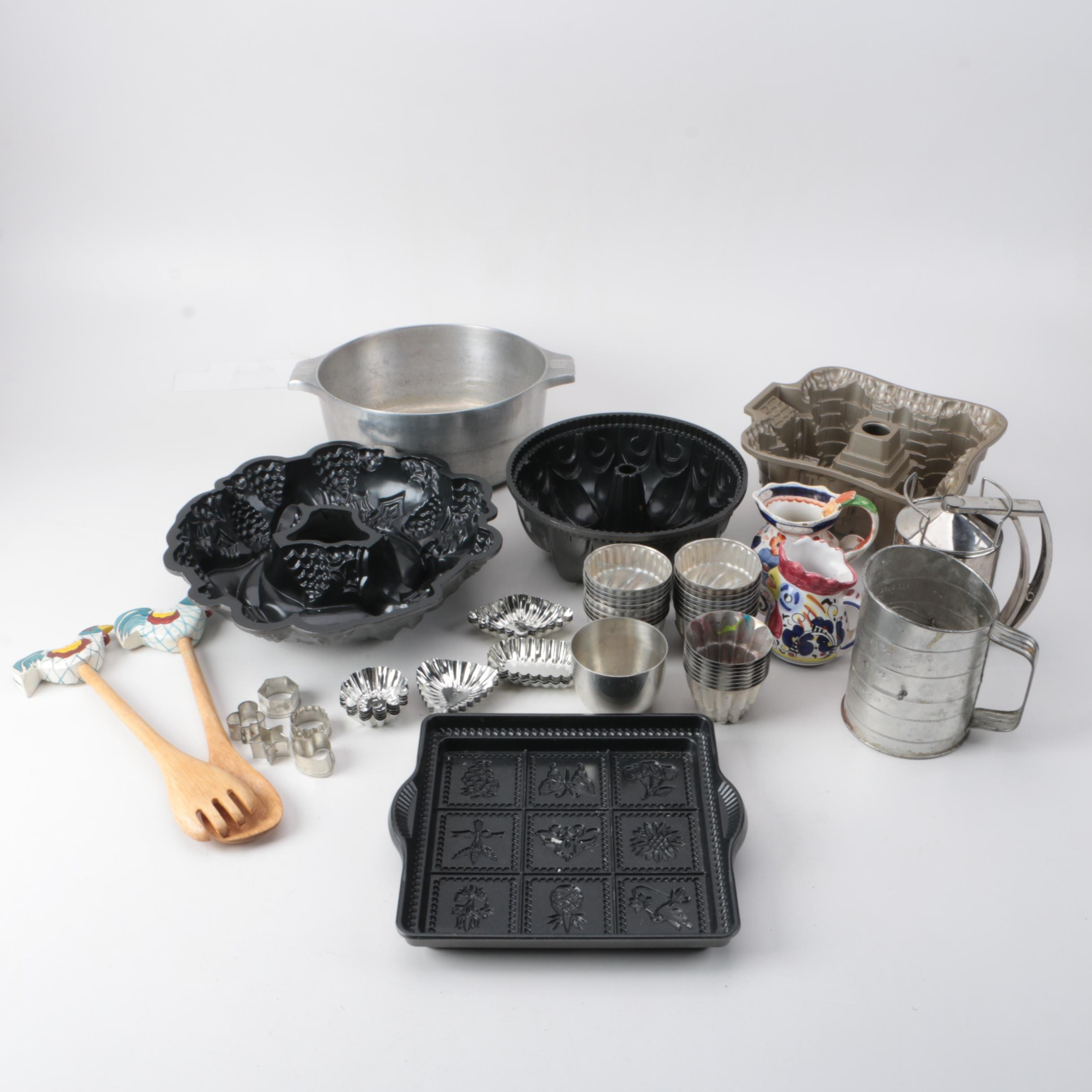 Bakeware Including Italian Ceramic, Cake Molds and Ironstone Creamer